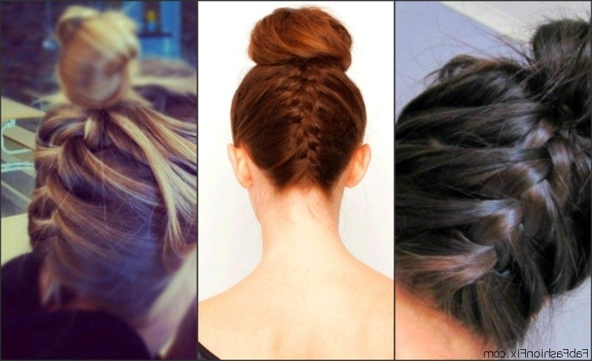 Hair: Upside Down French Braid Bun Hairstyle Tutorial – Fab Fashion Fix For Latest Upside Down Braids Into Messy Bun (View 11 of 15)