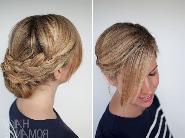 Hairstyle How To: Easy Braided Updo Tutorial – Hair Romance With Regard To Most Up To Date Updo With Forward Braided Bun (View 9 of 15)
