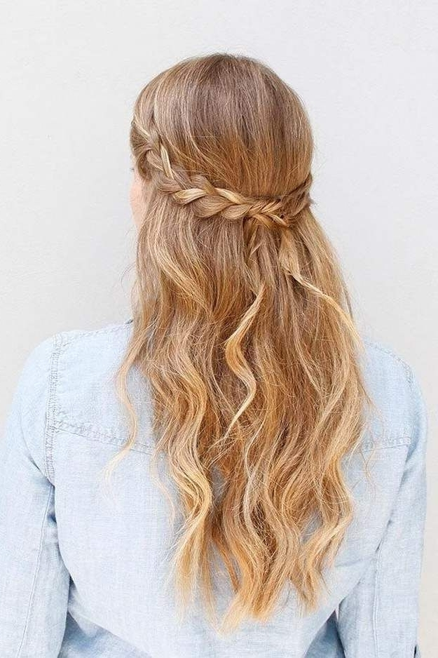 Hairstyles For Long Hair : Half Up Braided Hairstyle   Pinterest For Most Popular Braided Hairstyles For Homecoming (View 3 of 15)