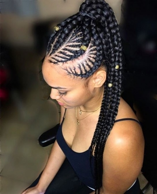 Hairstyles Ideas : Cornrow And Box Braid Hairstyles Hairstyles With With Regard To Most Popular Cornrows Hairstyles With Ponytail (View 10 of 15)