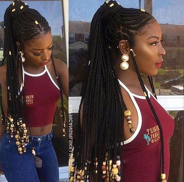 Half Cornrow And Half Box Braids With Beads | Hairstyles To Love With Regard To Most Up To Date Half Cornrows Half Individual Braids (View 10 of 15)