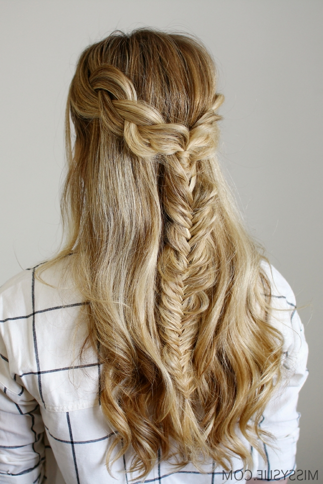 Half Up Braids And Fishtail For Latest Upside Down Fishtail Braid Hairstyles (View 15 of 15)