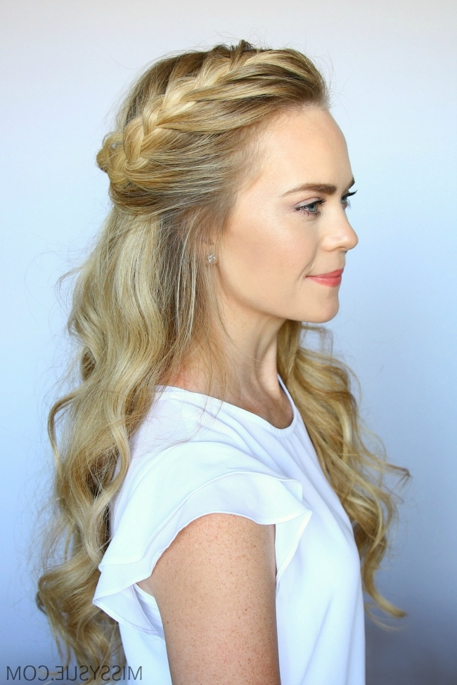 Half Up French Braid Crown | Missy Sue For 2018 French Braids Crown And Side Fishtail (View 15 of 15)