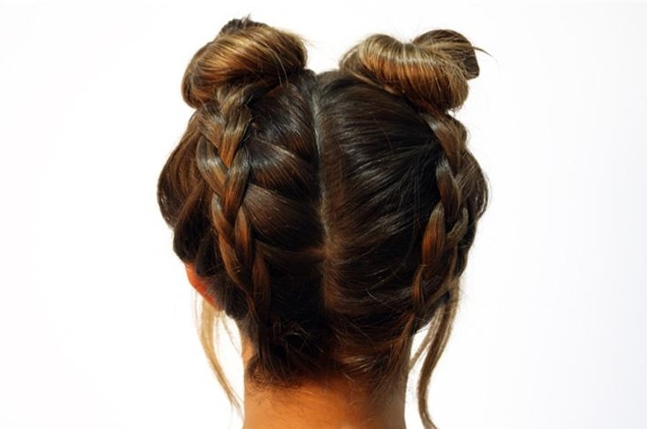 Her. How To: Double Upside Down Braids To Buns Tutorial | Her (View 4 of 15)