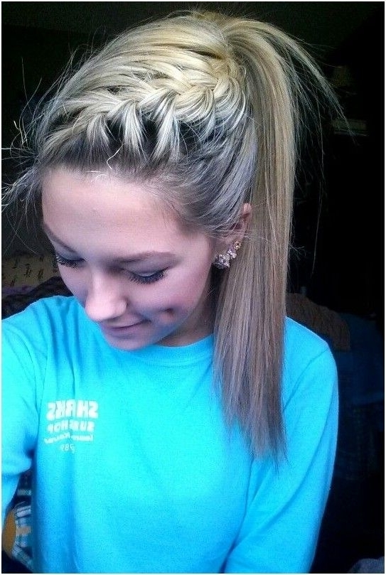 High Ponytail With French Braid Intended For Most Up To Date French Pull Back Braids Into Ponytail (View 15 of 15)