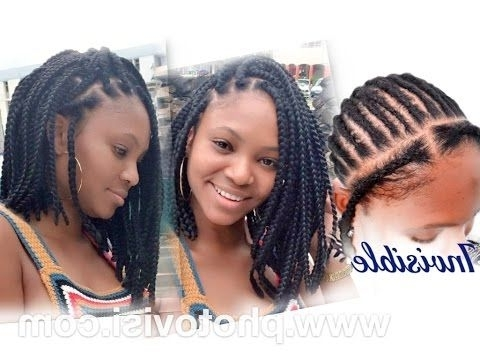 How To Asymmetric Crochet Bob Box Braid | Natural Hairstyles Pertaining To Most Current Swooped Up Playful Ponytail Braids With Cuffs And Beads (View 14 of 15)