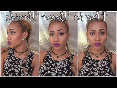 """How To: """"boxer Braids""""/two Cornrows + Extensions – Youtube Pertaining To Recent Two Cornrow Boxer Braids (View 14 of 15)"""
