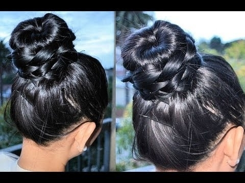 How To Braided Donut Bun Tutorial (Conair Donut Bun Maker) – Youtube For Most Current Donut Bun Hairstyles With Braid Around (View 11 of 15)