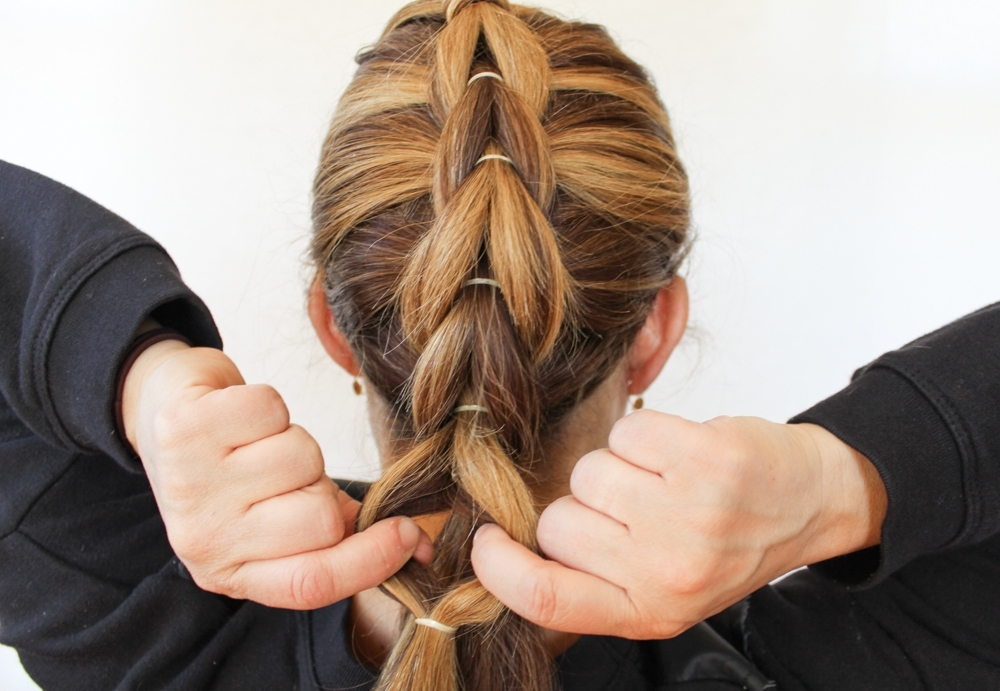 How To Create A French Pull Through Braid Regarding Most Current French Braid Hairstyles With Bubbles (View 9 of 15)