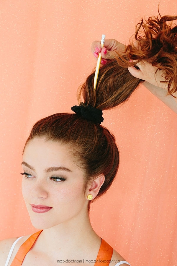 How To Create A Quick High Messy Bun | More With Most Current Large High Bun With A Headband (View 7 of 15)