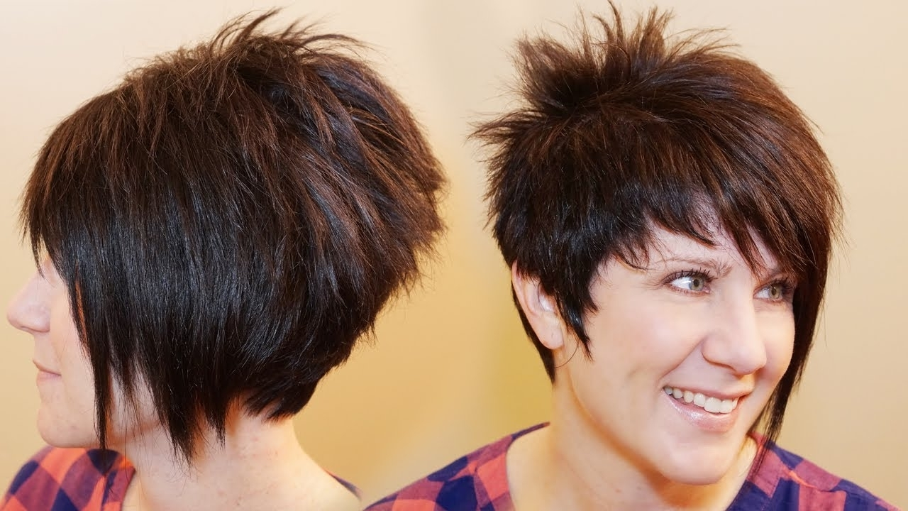 How To Cut Womens Hair // Short Pixie Assymetrical A Line Haircut For Most Recently Long Tapered Pixie Haircuts With Side Bangs (View 9 of 15)