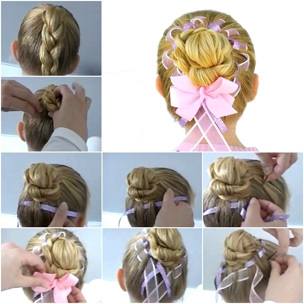 How To Diy Fancy Braided Hair Bun With Woven Ribbon – Fab Art Diy Intended For 2018 Braided Ribbon Hairstyles (View 5 of 15)