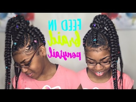 How To Do A Feed In Braid Ponytail – Youtube With Current Feed In Bun With Ghana Braids (View 9 of 15)