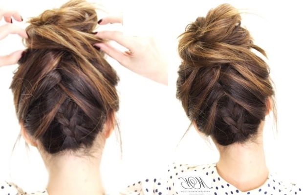 How To Do The Amazing Tuxedo Braid Messy Bun | Hairstyle Tutorial Regarding Current Braid Hairstyles To Messy Bun (View 14 of 15)
