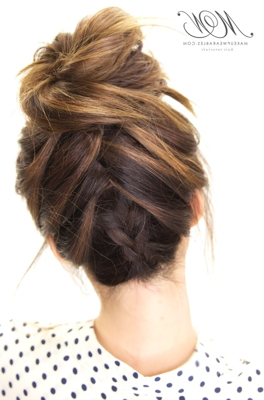 How To Do The Amazing Tuxedo Braid Messy Bun   Hairstyle Tutorial With Latest Upside Down Braids Into Messy Bun (View 15 of 15)