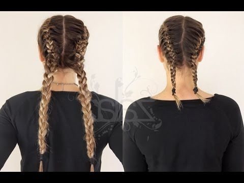 How To: Double Dutch Braids Using Hair Extensions | Zala Hair Pertaining To 2018 Top Knot Ponytail Braids With Pink Extensions (View 13 of 15)