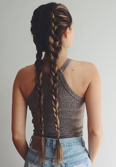 How To French Braid | Super Easy French Braid Tutorial throughout Most Recently Chunky Two-French Braid Hairstyles