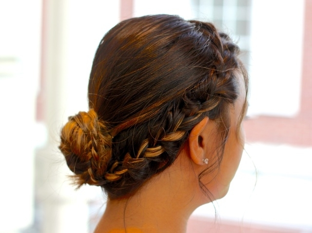 How To Make An Easy Side Braid Into A Bun – Snapguide In Most Recent French Braids Into Braided Buns (View 3 of 15)