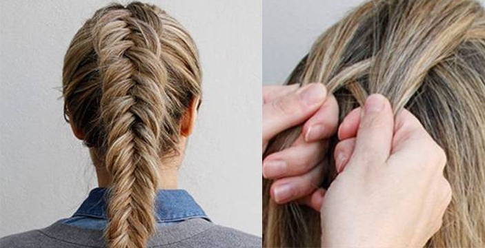 How To Tie An Inverted Fishtail Braid Within Most Up To Date Upside Down Fishtail Braid Hairstyles (View 11 of 15)