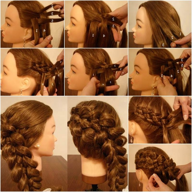 How To Weave Five Strand Diagonal French Braid Hairstyle Throughout Best And Newest Diagonal French Braid Hairstyles (View 8 of 15)