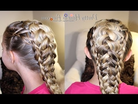 How To: Weaved Dutch Braid {Pancaked Braids} |Pretty Hair Is Fun Within Best And Newest Triple The Braids Hairstyles (View 2 of 15)