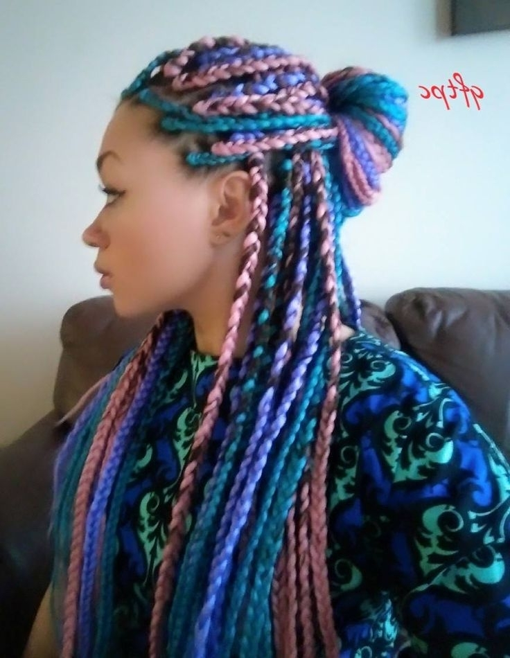 I Tried It: Multi Colored Box Braids | Protective Styles | Pinterest Intended For Latest Extra Long Blue Rainbow Braids Hairstyles (View 9 of 15)