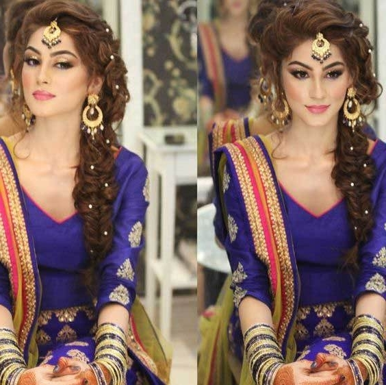 Indian Wedding Hairstyles For Indian Brides  Up Dos, Braids, Loose Curls Within Most Up To Date Indian Braided Hairstyles (View 12 of 15)