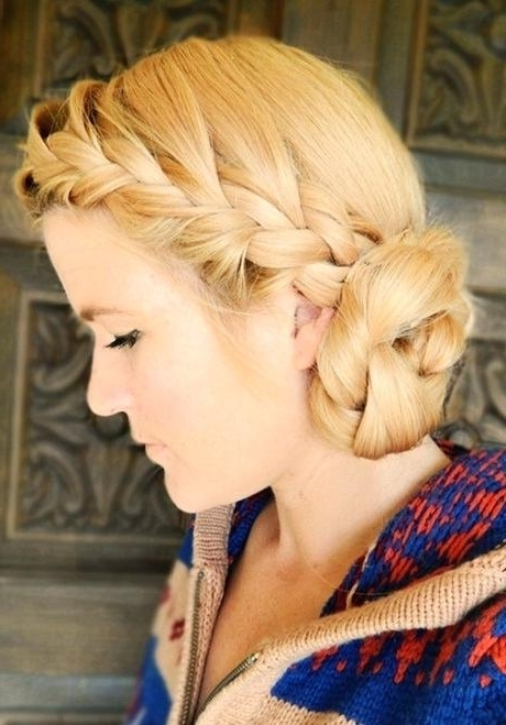 Inspirational Side Updo Hairstyles Or Braided Hairstyles Tutorials Pertaining To Most Up To Date Side Bun With Double Loose Braids (View 7 of 15)
