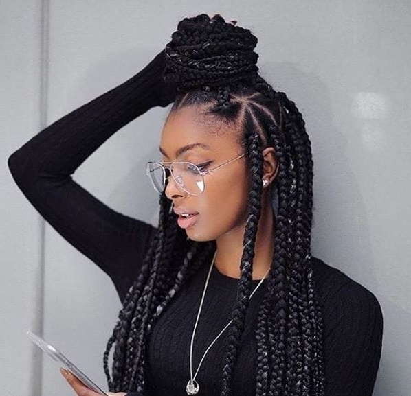 Inspiring Ways To Style Your Thick Box Braids Pertaining To Most Popular Triangle Box Braids Hairstyles (View 5 of 15)