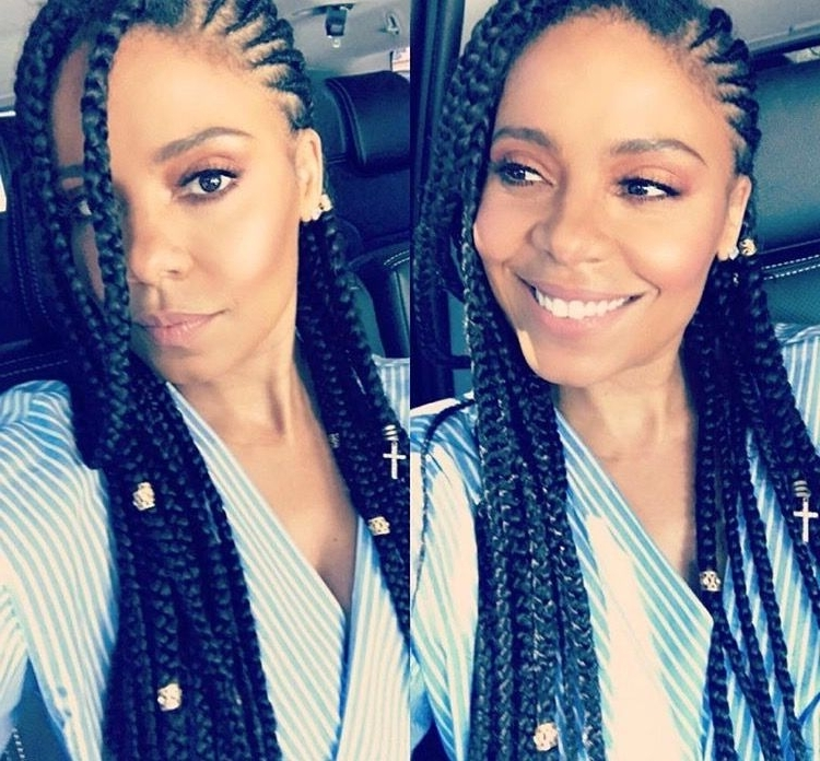It's Protective Style Season, And Actress Sanaa Lathan Is Rocking With Regard To Best And Newest Minimalistic Fulani Braids With Geometric Crown (View 13 of 15)