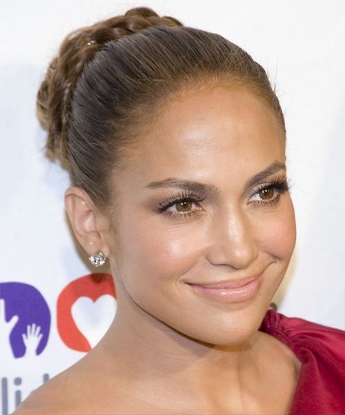 Jennifer Lopez Long Curly Formal Braided Updo Hairstyle - Light throughout Most Popular Jennifer Lopez Braided Hairstyles