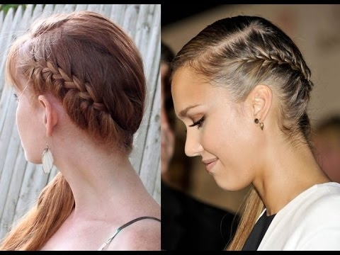 Jessica Alba French Braid Side Ponytail Hair Tutorial - Youtube with regard to Latest Wrapped Ponytail With In-Front-Of-The-Ear Braids