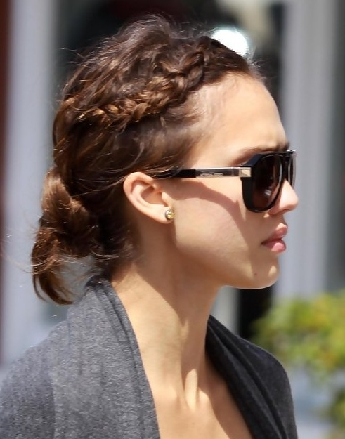 Jessica Alba Hairstyles: Casual Braided Updo - Popular Haircuts with regard to Most Recently Casual Braided Hairstyles