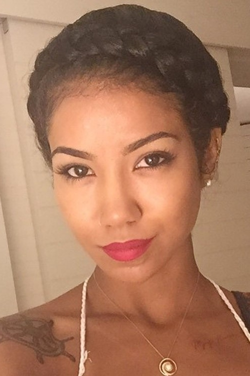 Jhené Aiko Curly Black Crown Braid, Updo Hairstyle | Steal Her Style Inside Recent Black Crown Braid Hairstyles (View 8 of 15)