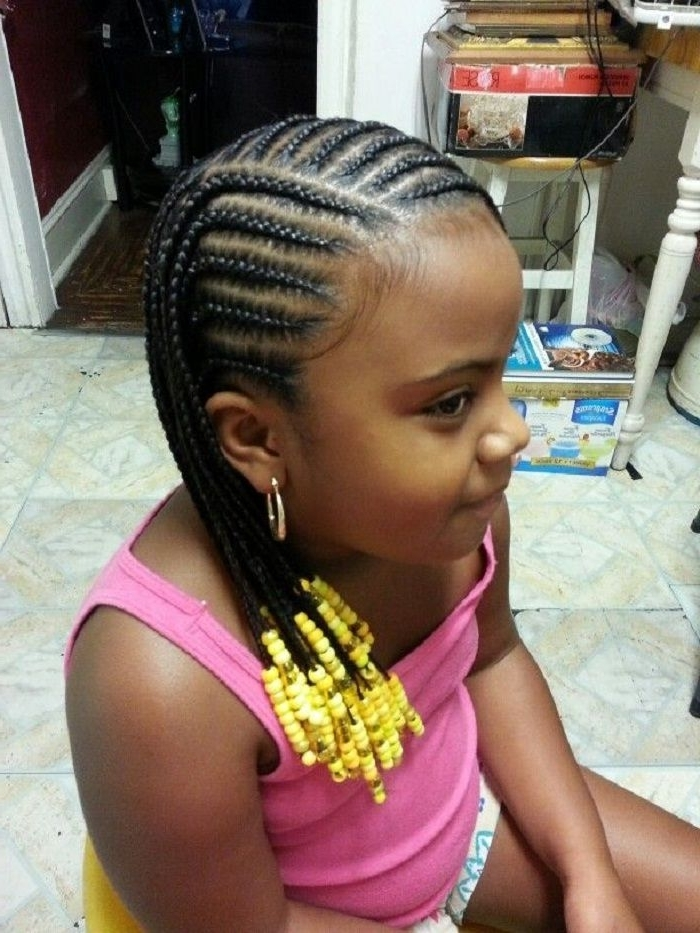 Large Cornrows Styles For Little Girls | Little Black Girl Cornrow For Most Current Classic Fulani Braids With Massive Ivory Beads (View 13 of 15)