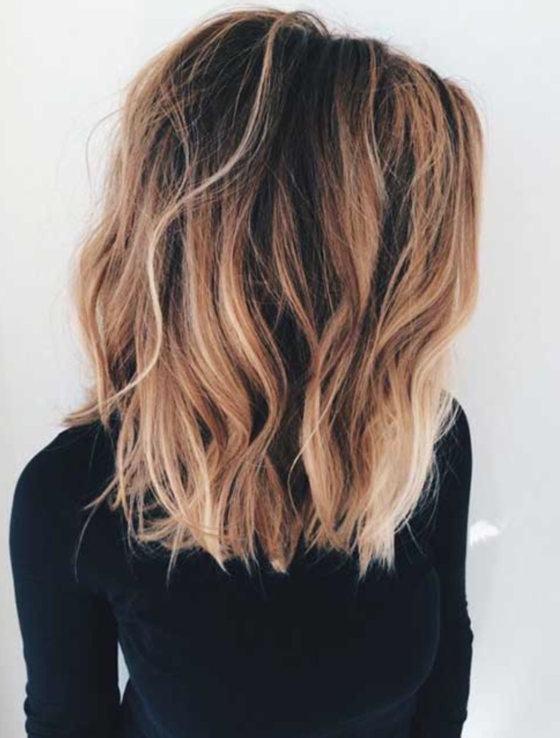 Long Bob With Long Layers– Dark Brown Roots With Caramel And Blonde For Best And Newest Piece Y Haircuts With Subtle Balayage (View 11 of 15)