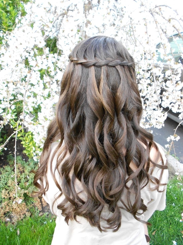 Long, Curly, Brown Hairstyle With Braided Headband | Hairstyles Throughout Current Braided Crown With Loose Curls (View 11 of 15)