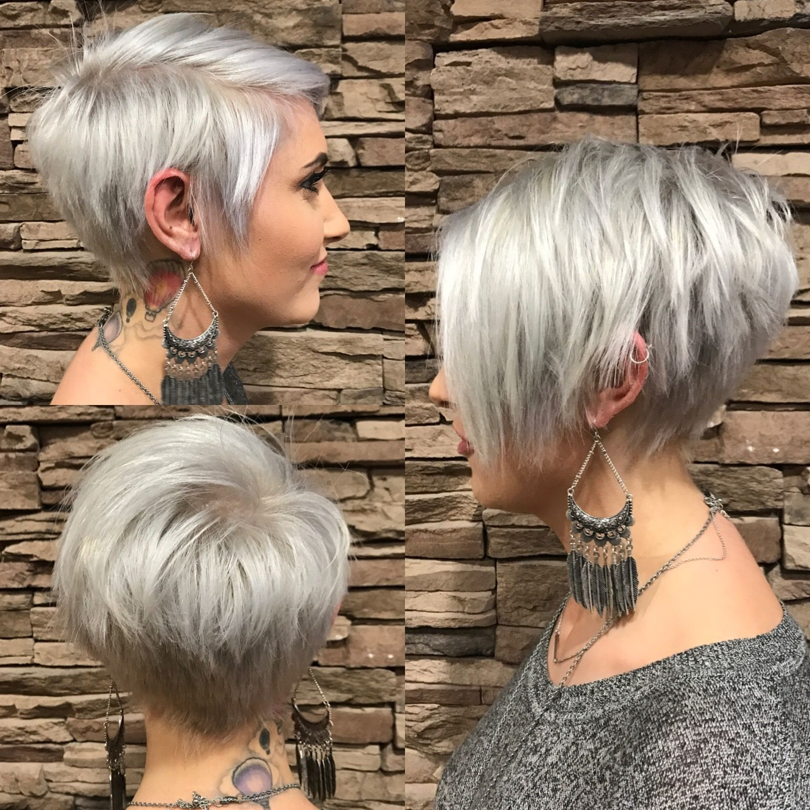 Long Pixie With Bangs, Silver | Hair Cut And Style Ideas | Pinterest Pertaining To 2018 Tapered Pixie Haircuts With Long Bangs (View 4 of 15)