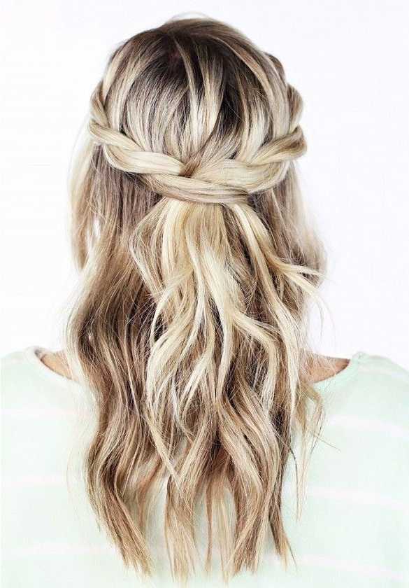 Loose Braid With Waves. | Crown Braid Natural Hair | Pinterest inside Most Up-to-Date Braids And Waves For Any Occasion