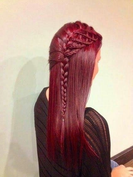Lovely Braided Burgundy Red Hair | Nails, Makeup, And Hair Pt (View 4 of 15)