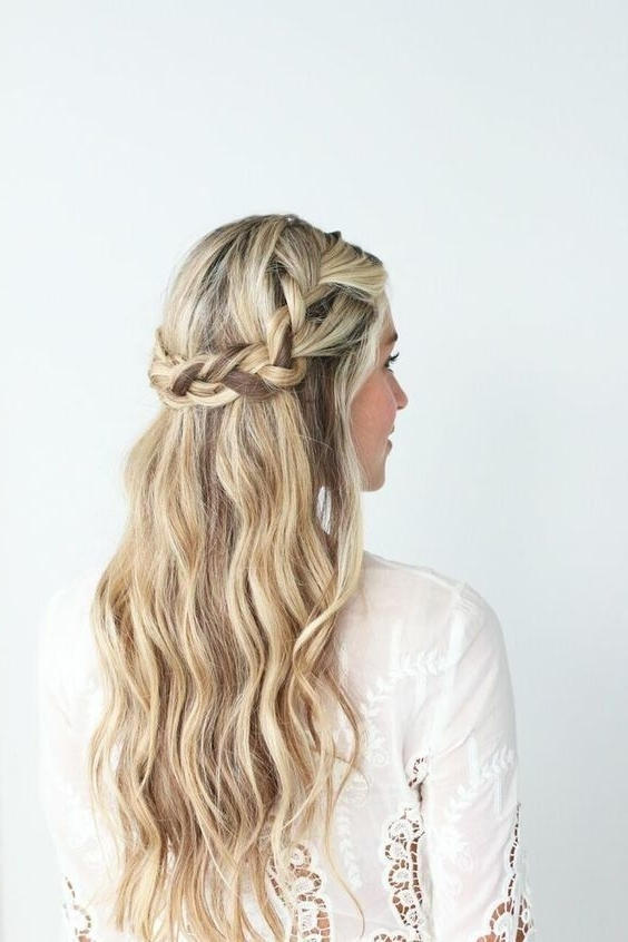 Low Braided Crown With Loose Beach Waves | Capelli | Pinterest For Best And Newest Braided Crown With Loose Curls (View 5 of 15)