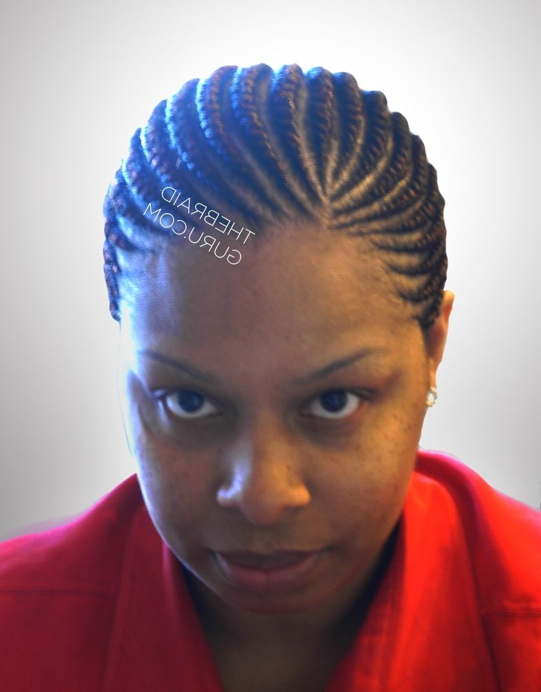 Medium Feed In Cornrows – 1 Layer – Front View Braids Pertaining To Most Up To Date Medium Cornrows Hairstyles (View 14 of 15)