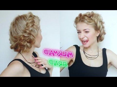 Medium Short Hair Hairstyle Messy Milkmaid Braid   Awesome For Newest Milkmaid Braided Hairstyles (View 8 of 15)