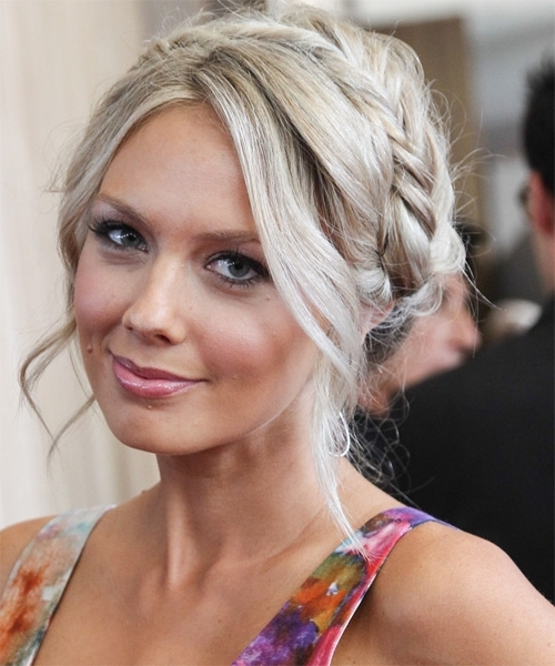 Melissa Ordway Long Curly Casual Braided Updo Hairstyle – Light In Current Blonde Braided Hairstyles (View 9 of 15)