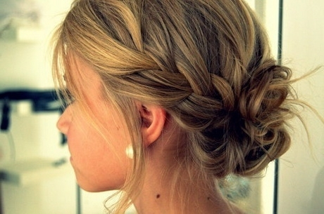 Messy Bun Prom Hairstyles Within Most Recent Braid Hairstyles To Messy Bun (View 11 of 15)