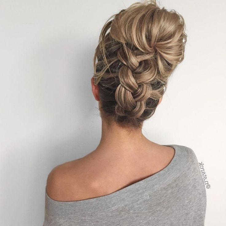 Messy Bun Upside Down Chunky Braid Into A Messy Bun – Triana Fashion In Most Up To Date Upside Down Braids Into Messy Bun (View 13 of 15)