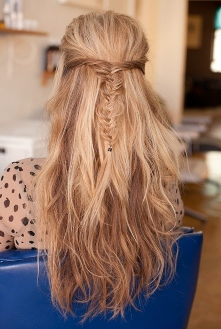 Messy Fishtail Braid, Half Up, Half Down Hairstyles: Long Hair Pertaining To Most Current Upside Down Fishtail Braid Hairstyles (View 6 of 15)