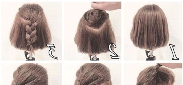 Messy Half Up Braid Hairstyle For Short Hair | Makeup Mania With Current Braided Hairstyles On Short Hair (View 5 of 15)