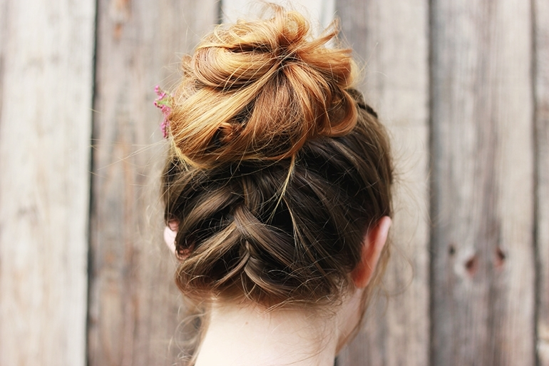 Messy Upside Down French Braid Bun – The Merrythought Throughout Best And Newest Messy Flipped Braid And Bun Hairstyles (View 15 of 15)