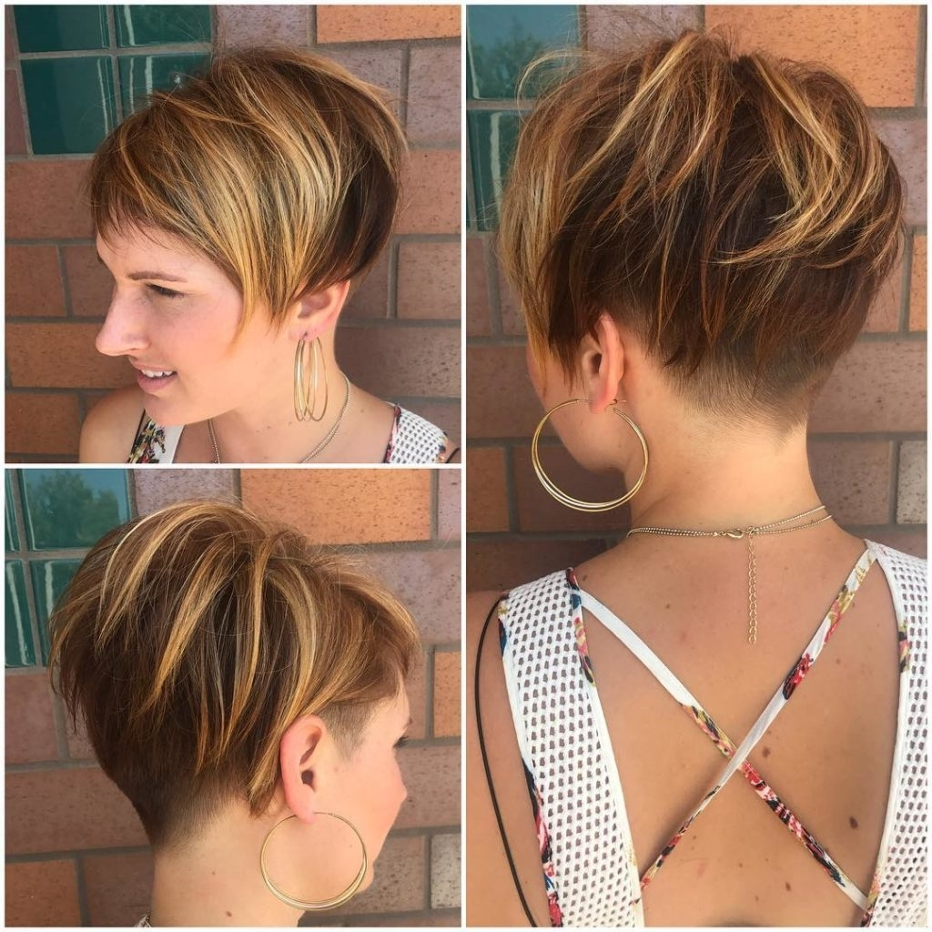 Messy Voluminous Brunette Undercut Pixie With Highlights Women's In Latest Long Voluminous Pixie Haircuts (View 4 of 15)